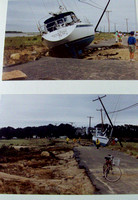 These images of sail and power craft tossed onto the Mashnee Dike during Hurricane Bob
