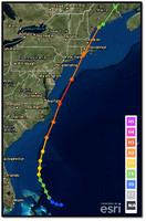 The track and categories of Hurricane Bob