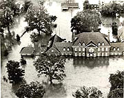 In Harrisburg, Gov. Milton Shapp and first lady Muriel Shapp were rescued byboat from the flooded governor's mansion