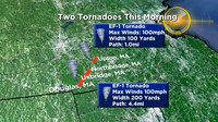 Path of tornadoes in Worcester County