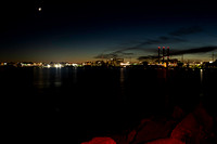 16% cresent moon with jupiter and saturn over India Point Park copyright ronaldzinconephotography