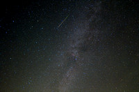 Perseid meteor and Milky Way over frosty drew