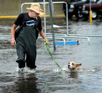 "Jeremiah Burke of Bethel took his friends dog for "" a swim"" he says, in the flooded Walmart parking lot in Danbury"
