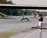 A flooded area on Sept. 16, 1999, on Interstate 40, just south of Burgaw, North Carolina