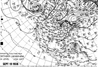 Surface Map for September 19, 1938. The Hurricane east of the Bahamas and had begun recurving north