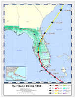 Hurricane Donna's track over Florida