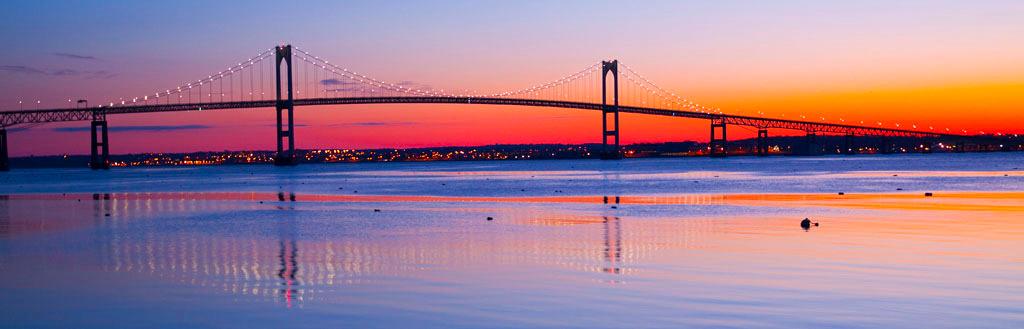 Newport Bridge at Sunrise panoramic, award winner