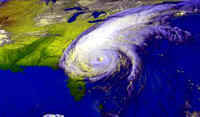 This weather satellite image of Hurricane Floyd, from September 15, 1999, shows the immense size of the storm, stretching from Florida to Canada. The storm travelled just off the Atlantic coast, produ